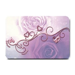 Wonderful Soft Violet Roses With Hearts Small Doormat