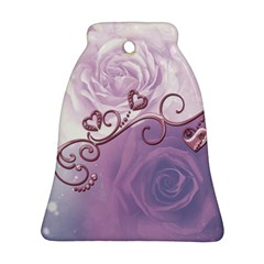 Wonderful Soft Violet Roses With Hearts Ornament (bell)