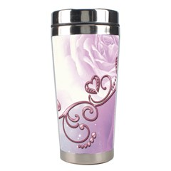 Wonderful Soft Violet Roses With Hearts Stainless Steel Travel Tumblers