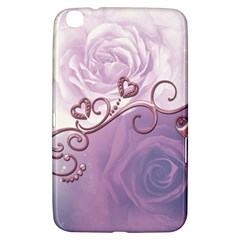 Wonderful Soft Violet Roses With Hearts Samsung Galaxy Tab 3 (8 ) T3100 Hardshell Case