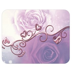 Wonderful Soft Violet Roses With Hearts Double Sided Flano Blanket (medium)