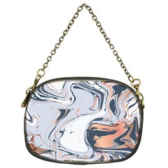 Liquid Gold And Navy Marble Chain Purses (one Side)