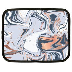 Liquid Gold And Navy Marble Netbook Case (xl)