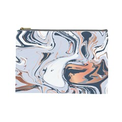 Liquid Gold And Navy Marble Cosmetic Bag (large)