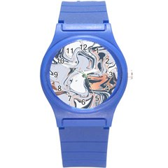 Liquid Gold And Navy Marble Round Plastic Sport Watch (s)