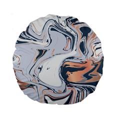 Liquid Gold And Navy Marble Standard 15  Premium Round Cushions