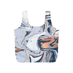 Liquid Gold And Navy Marble Full Print Recycle Bags (s)