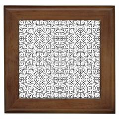 Black And White Ethnic Geometric Pattern Framed Tiles