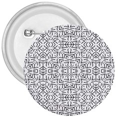 Black And White Ethnic Geometric Pattern 3  Buttons