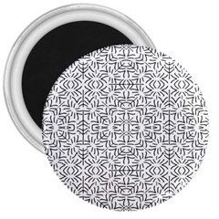 Black And White Ethnic Geometric Pattern 3  Magnets