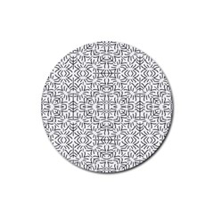 Black And White Ethnic Geometric Pattern Rubber Round Coaster (4 Pack)
