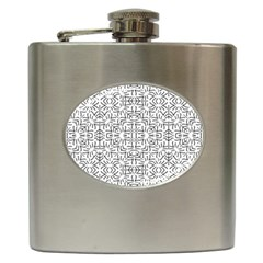 Black And White Ethnic Geometric Pattern Hip Flask (6 Oz)