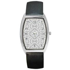 Black And White Ethnic Geometric Pattern Barrel Style Metal Watch