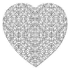 Black And White Ethnic Geometric Pattern Jigsaw Puzzle (heart)