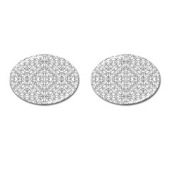 Black And White Ethnic Geometric Pattern Cufflinks (oval)