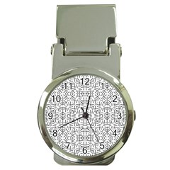 Black And White Ethnic Geometric Pattern Money Clip Watches