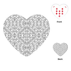 Black And White Ethnic Geometric Pattern Playing Cards (heart)