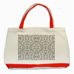 Black And White Ethnic Geometric Pattern Classic Tote Bag (red)