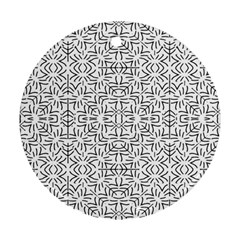Black And White Ethnic Geometric Pattern Round Ornament (two Sides)