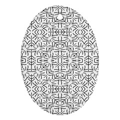 Black And White Ethnic Geometric Pattern Oval Ornament (two Sides)