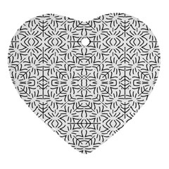 Black And White Ethnic Geometric Pattern Heart Ornament (two Sides)
