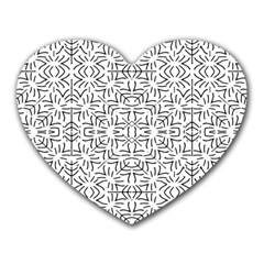 Black And White Ethnic Geometric Pattern Heart Mousepads