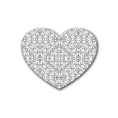 Black And White Ethnic Geometric Pattern Rubber Coaster (heart)