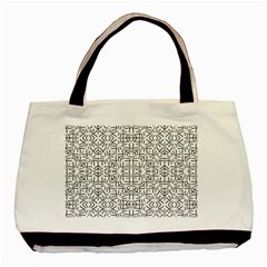 Black And White Ethnic Geometric Pattern Basic Tote Bag (two Sides)