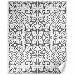 Black And White Ethnic Geometric Pattern Canvas 11  X 14