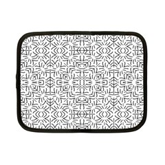 Black And White Ethnic Geometric Pattern Netbook Case (small)