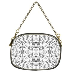 Black And White Ethnic Geometric Pattern Chain Purses (one Side)