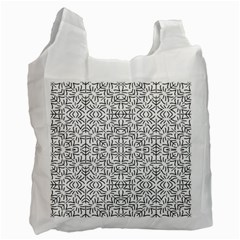 Black And White Ethnic Geometric Pattern Recycle Bag (one Side)