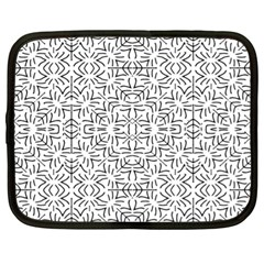 Black And White Ethnic Geometric Pattern Netbook Case (xl)