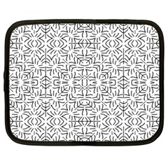 Black And White Ethnic Geometric Pattern Netbook Case (xxl)