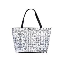 Black And White Ethnic Geometric Pattern Shoulder Handbags