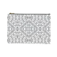 Black And White Ethnic Geometric Pattern Cosmetic Bag (large)