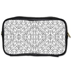 Black And White Ethnic Geometric Pattern Toiletries Bags 2 Side
