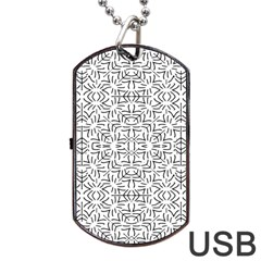 Black And White Ethnic Geometric Pattern Dog Tag Usb Flash (one Side)