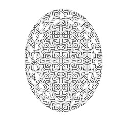 Black And White Ethnic Geometric Pattern Oval Filigree Ornament (two Sides)