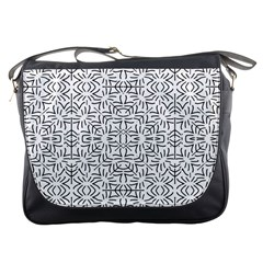 Black And White Ethnic Geometric Pattern Messenger Bags