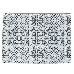Black And White Ethnic Geometric Pattern Cosmetic Bag (xxl)