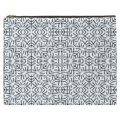 Black And White Ethnic Geometric Pattern Cosmetic Bag (xxxl)