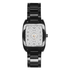 Black And White Ethnic Geometric Pattern Stainless Steel Barrel Watch