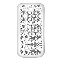 Black And White Ethnic Geometric Pattern Samsung Galaxy S3 Back Case (white)