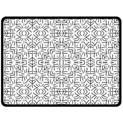 Black And White Ethnic Geometric Pattern Double Sided Fleece Blanket (large)