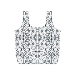 Black And White Ethnic Geometric Pattern Full Print Recycle Bags (s)