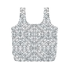 Black And White Ethnic Geometric Pattern Full Print Recycle Bags (m)