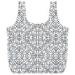 Black And White Ethnic Geometric Pattern Full Print Recycle Bags (l)