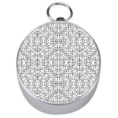 Black And White Ethnic Geometric Pattern Silver Compasses