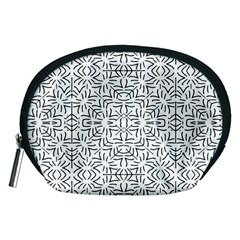 Black And White Ethnic Geometric Pattern Accessory Pouches (medium)